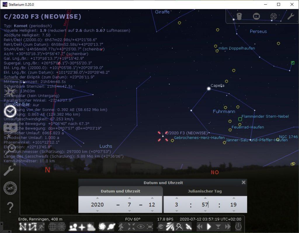Wie finde ich einen Kometen?